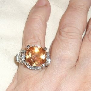 Gorgeous Fantasy Cut Citrine, CZ And Silver Ring 7
